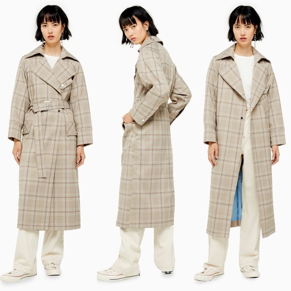 New TOPSHOP Beige Multi Editor Check Trench Coat